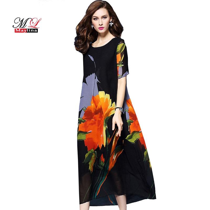 MLinina nyári ruha nők 2018 laza nyomtatás virágos nemzeti stílus hosszú ruha selyem elegáns alkalmi rövid ujjú ruhák Vestidos