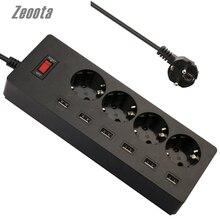 6-USB Zeoota & 4-Outlet Faixa De Alimentação AC Adaptador 1.8 M Cabo USB Tomadas de Parede com Interruptor Plug UE Cabo de Extensão Powercube