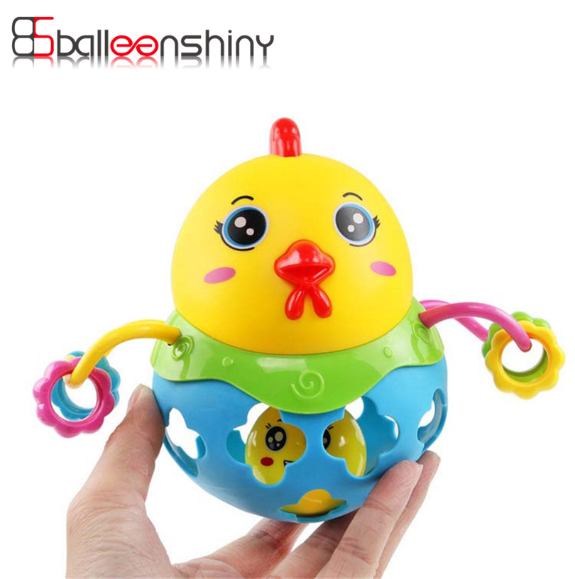 Chicken Rattles Handbell Baby Toy Musical Instrument Rhythm Shaking Chicken Jingle Bell for Kid Education Musical Random Color