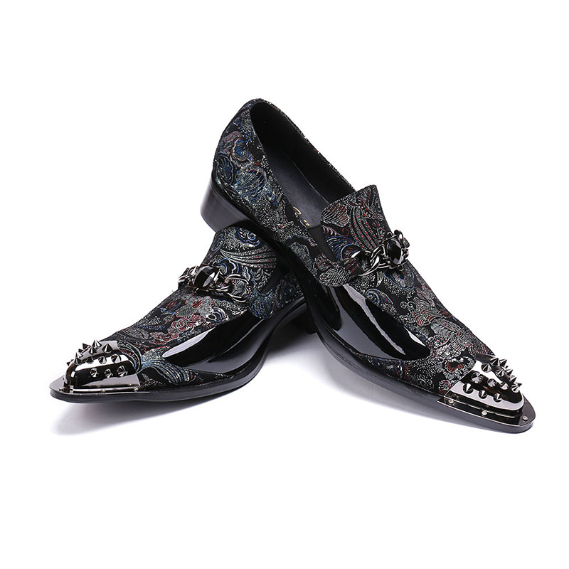 Deification Luxury Style Men Dress Shoes Genuine Leather Chaussure Homme Vintage Rivets Pointy Toe Male Formal Party Shoes Flats in Formal Shoes from Shoes