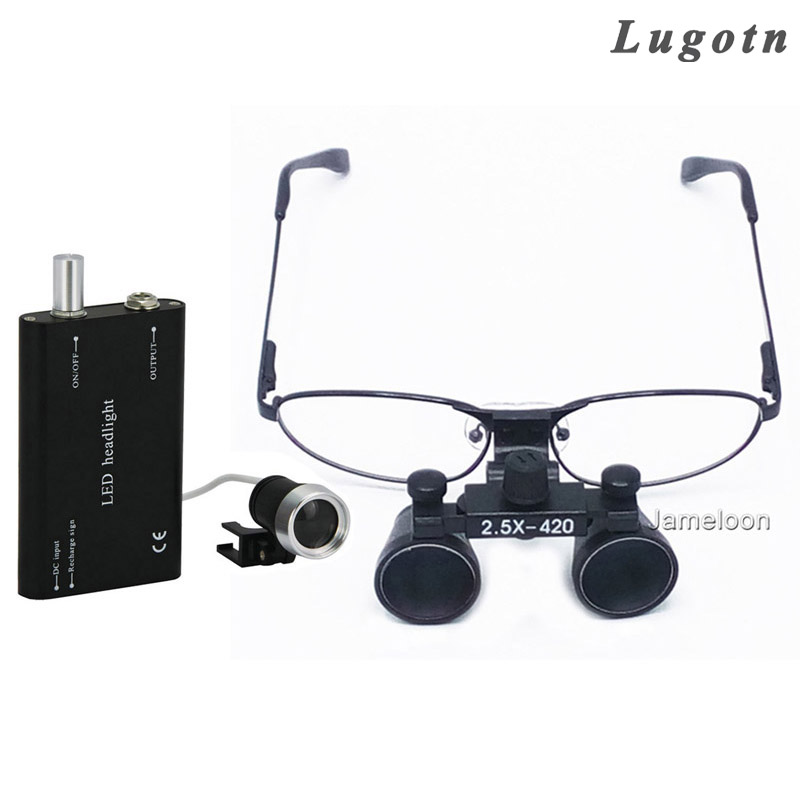2.5X magnifying dental surgical operation loupe with LED light headlamp myope nearsighted glasses oral dentist medical magnifier