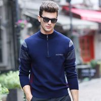 New Men S 100 Pure Wool Sweater Male Zipper Long Sleeve Half Turtleneck Casual Sweater Men