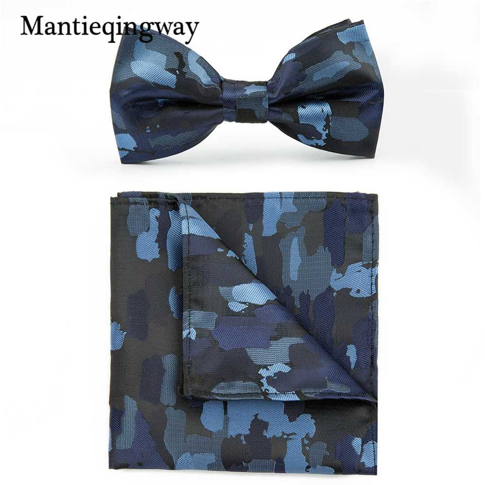 17efed40e9f0 ... Mantieqingway Classic Business Camouflage Printed Hanky Bowtie Set for  Mens Suits Marriage Bow Ties Pocket Square ...