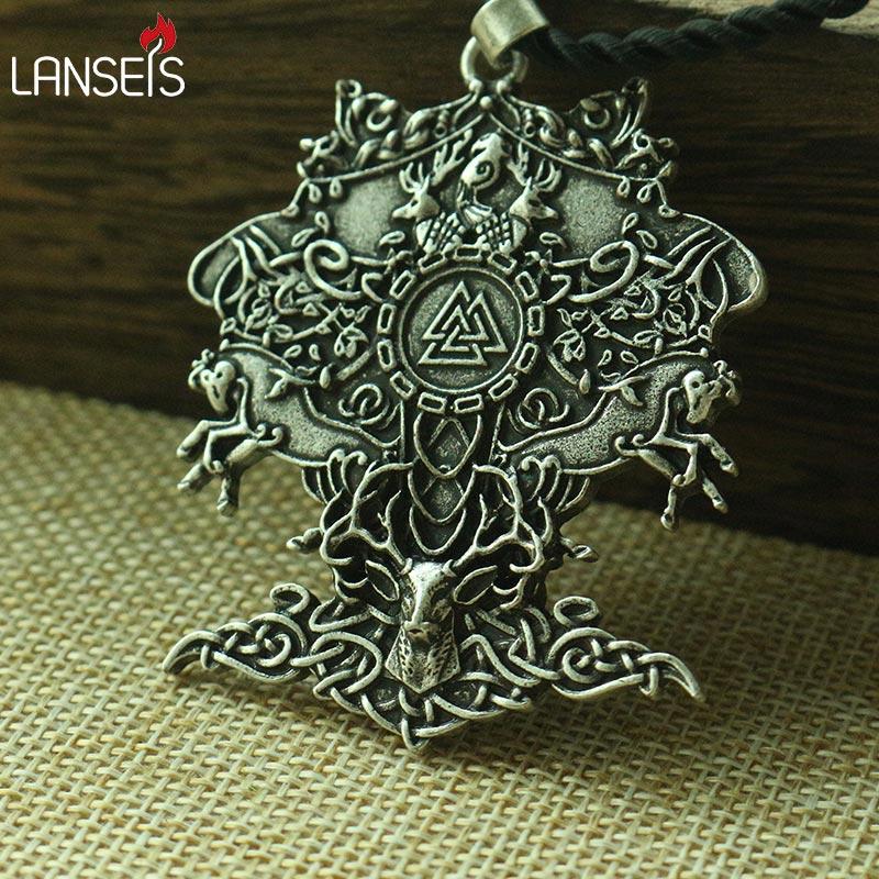 lanseis 1pcs viking men necklace celt deer celt horse celttree of Life pendant Norway Valknut pagan amulet pendant