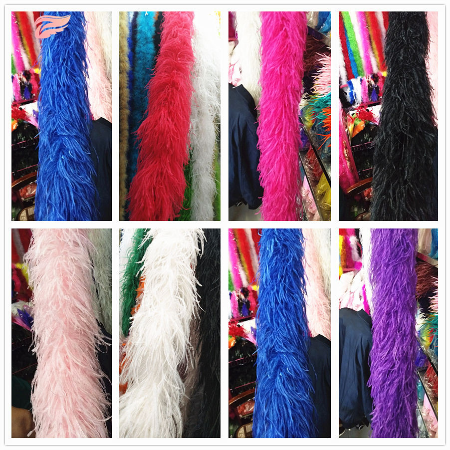 Hot 2m Long High Quality 6-layer White Ostrich Feather Boa for Wedding Focus Carnival Dress Ornaments/Shawls/Crafts