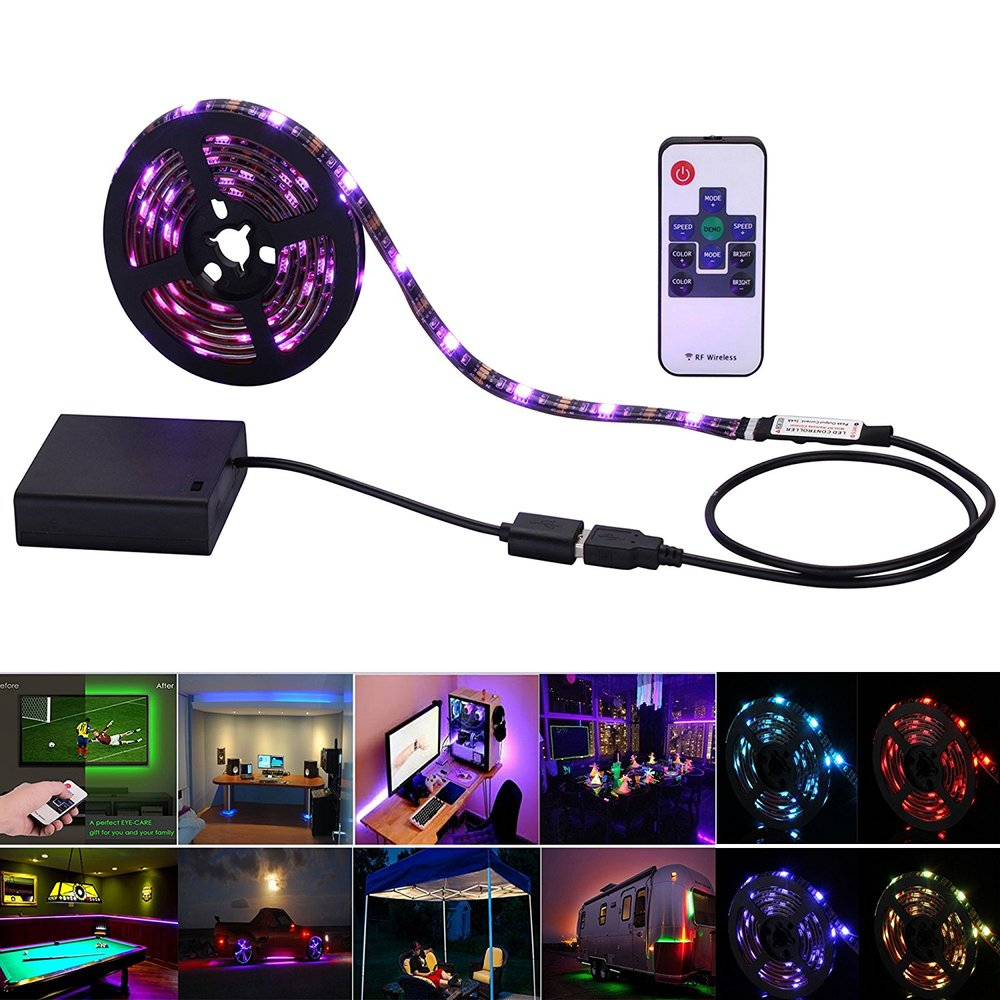 5v 5050 2m 60leds Rgb Led Strip Lights Usb Battery Powered