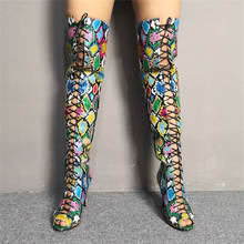 Luxury Karinluna large size 35-47 colorful snake print Women Shoes Woman Sexy thin High Heels summer boots over the knee Boots(China)
