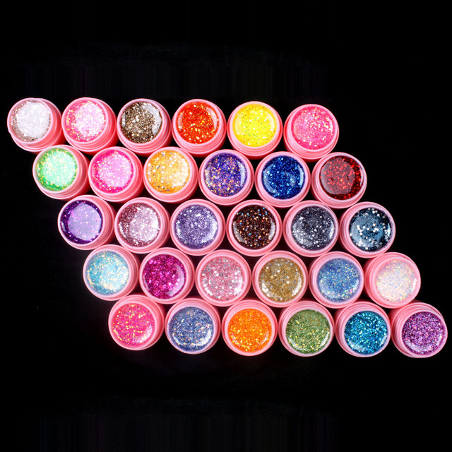 New 30Pcs Mix Color Glitter Hexagon Sheet Nail Art UV Builder Gel for False Tip Set PINK POT