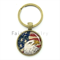 Bald eagle key chain exquisite pop american flag pattern antique charm USA flag patriot keychain vintage national symbolic KC249