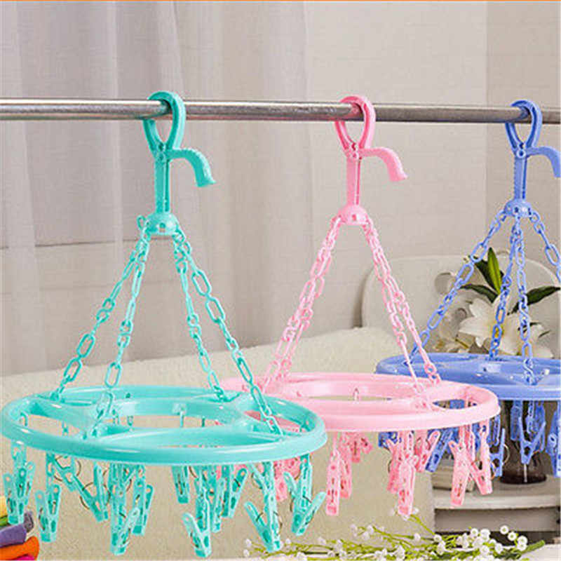 High Quality Hanging Dryer 18 Clips Laundry Clothes Drying Hanger Underwear Sock Hanger Round Plastic Organizer Drying Rack