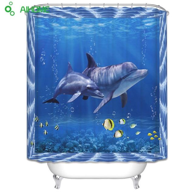 3D Dolphin Tenda Della Doccia 180x180 cm/150*180 cm Poliestere Impermeabile Tend