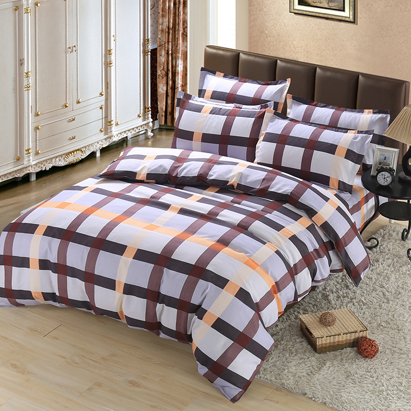 Simple Grid stripes king queen twin kids size Soft comfortab cotton bedding set quilt cover + bed sheet + pillow cases- bedlinenSimple Grid stripes king queen twin kids size Soft comfortab cotton bedding set quilt cover + bed sheet + pillow cases- bedlinen