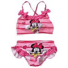 Стильный милый детский комплект одежды без рукавов с рисунком для девочек, купальный костюм-бикини купальный костюм из двух предметов для детей от 2 до 7 лет
