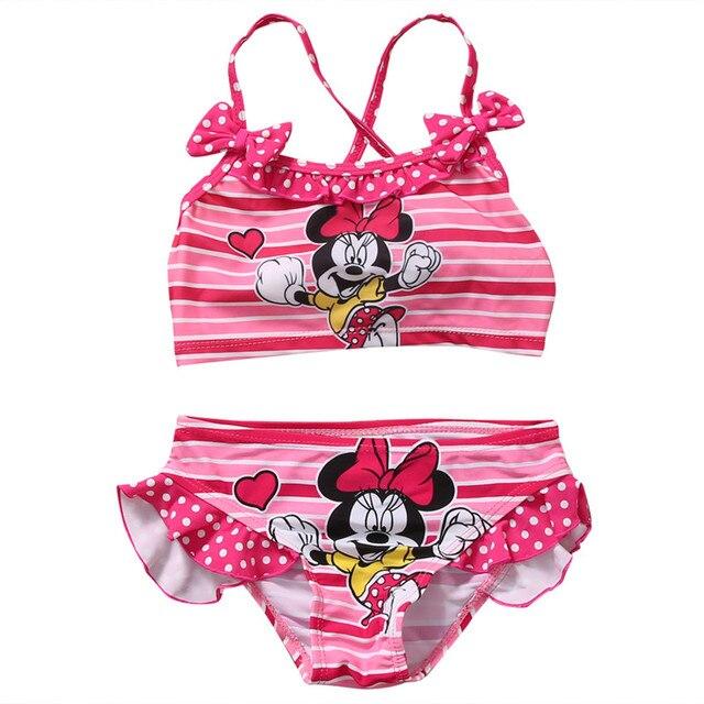 Новый стиль милый мультфильм дети девочки комплект одежды без рукавов купальники бикини купальный костюм из двух частей купальник 2-7 лет