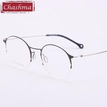 Chashma Brand Round Glasses Half Rim Retro Stylish Titanium Glasses Light Weight Quality Myopia Glasses Frame Women Eyeglasses
