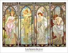 Les heures du jour collage by Alphonse Mucha paintings For sale,Home Decor,Hand-painted,High quality
