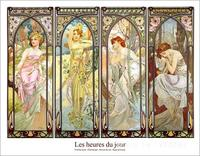 Les heures du jour jour collage by Alphonse Mucha paintings For sale Home Decor Hand painted High quality