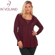 IN'VOLAND Women T-Shirt Plus Size Autumn Spring V-Neck Long Sleeve Pleated Pullovers Empire Waist Tshirt Tee Tops Plus Size