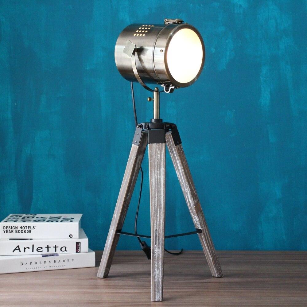 LED Ahşap tripod Masa Arama Işık Masası Okuma Lambası Lambaları - Gece Lambası - Fotoğraf 1