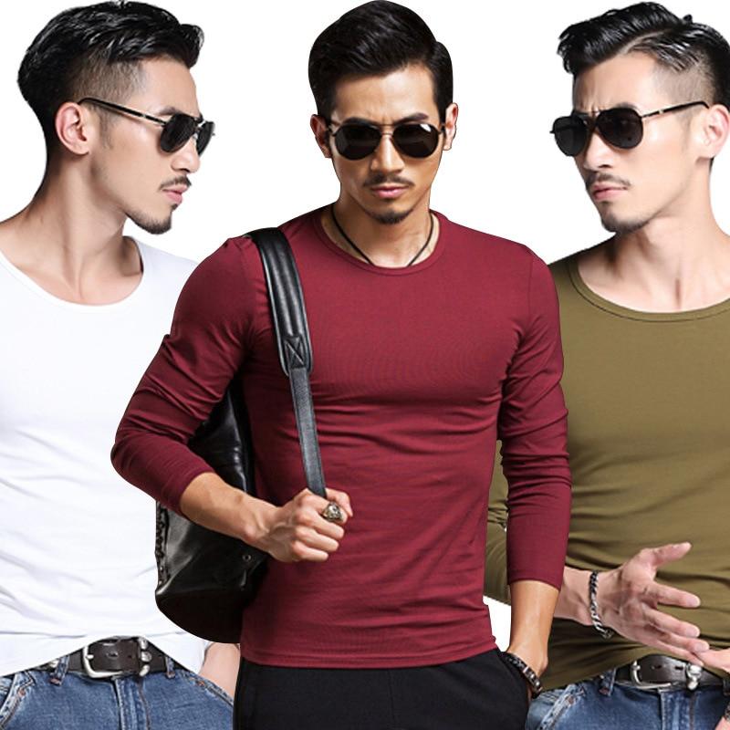 Fall / winter men's long sleeve   T   -   shirt   solid color base   shirt   men's   T   -   shirt   men's long sleeve stickers custom A00