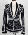 2016 Últimas Runway Nueva Moda de Calidad Superior de Las Mujeres Perlas Granos Hechos A Mano de La Novedad de Lujo de la Chaqueta de Manga Larga ropa de Abrigo Negro