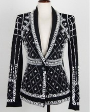 2016 Latest Runway New Fashion Top Quality Women's Pearls Handmade Beads Novelty Long Sleeve Jacket Luxury Black Outerwear