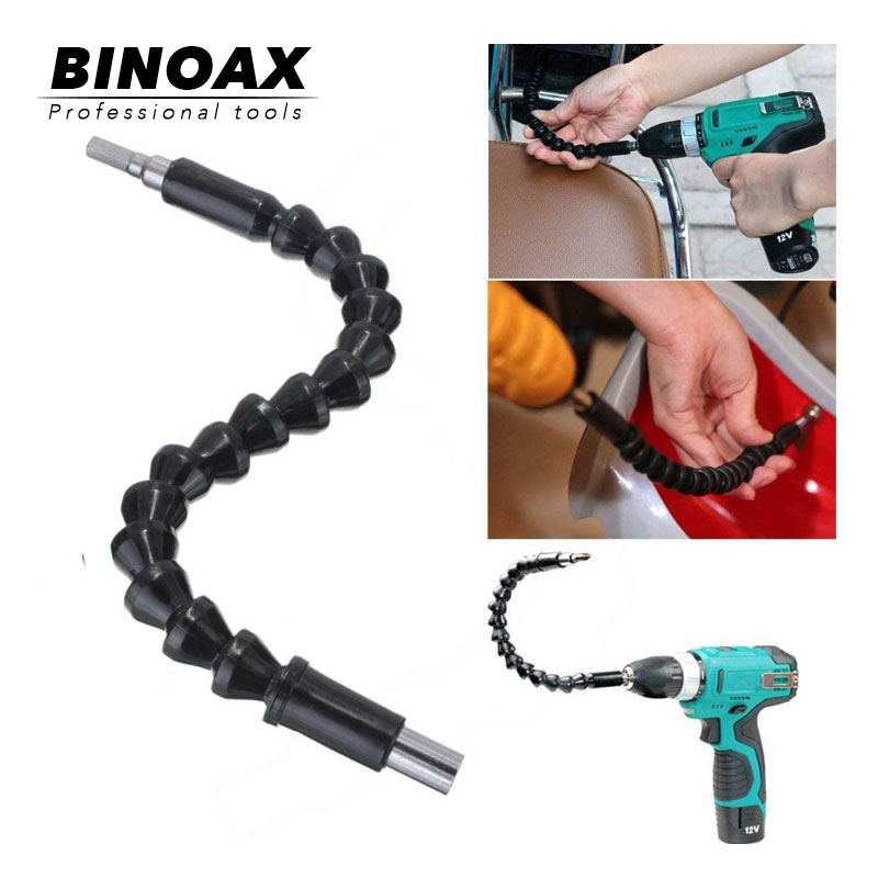 Binoax 295mm Electronics Drill Black Flexible Shaft Bits Extention Screwdriver Bit Holder Connect Link