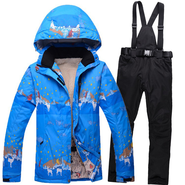Cheap 2016 High Quality Women Ski Suit Beautiful Flower Waterproof Windproof Ski Jacket and Warm Thicken Clothes Pants Set Brand New
