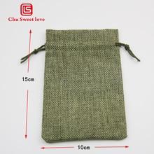 10Pcs/10*15Cm Christmas Linen Jute Gift Drawstring Bags Sacks Wedding Birthday Party Jewelry Drawstring Pocket Shower Supplies