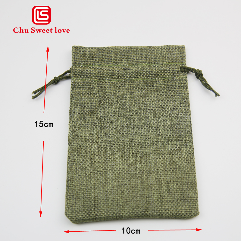 10Pcs Linen Imitation Linen Christmas Gift Drawstring Bag 10 * 15Cm Imitation Sack Wedding Party Gift Drawstring Pocket