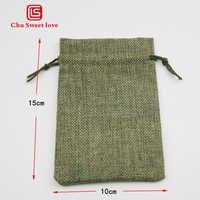 10Pcs linen imitation linen Christmas gift drawstring bag 10 * 15Cm imitation sack wedding party gift drawstring pocket