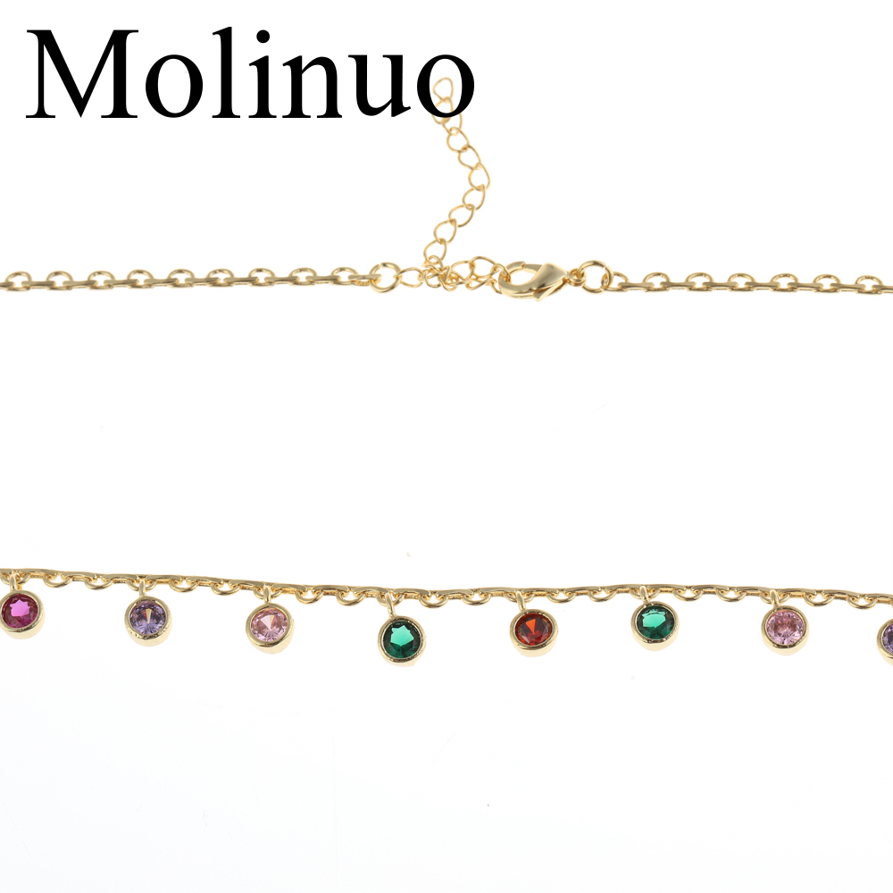 2019Molinuo beautiful round drop colorful cz mulity charm paved gold color choker necklace for lady girl women party wedding je in Choker Necklaces from Jewelry Accessories