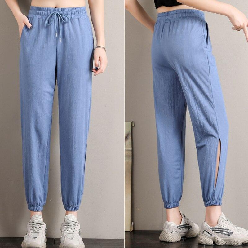 England Style Harem Pants Women Summer Elastic Waist Black Pants Capris Ladies Hollow Out Skinny Pants Plus Size pantalones