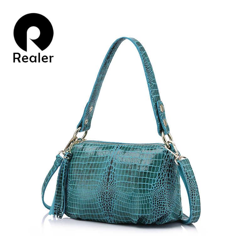 83dd7d60aa06 REALER женская ручная сумка из натуральной кожи со змеиным принтом,  маленькая сумка хобо на плечо