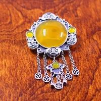 S925 silver exquisite female yellow stone Pendant