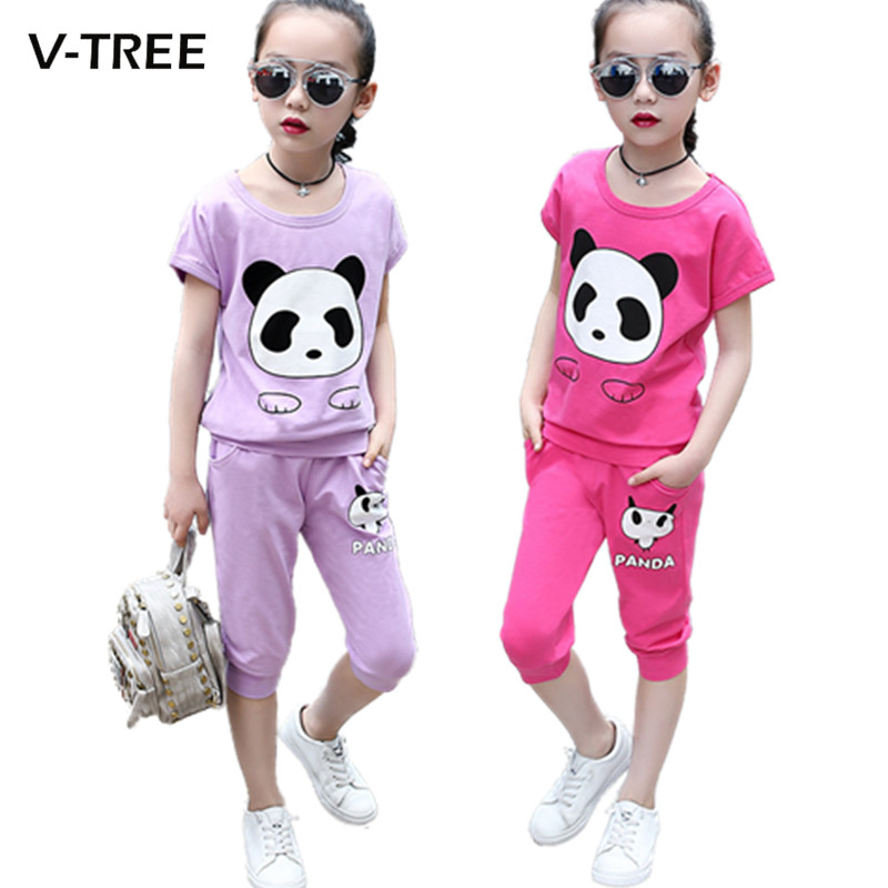 V-TREE Summer Girls Clothing Sets Cartoon Teenage Girls Suit Sets School Kids Children Sports Clothes 2/piece Tracksuit For Girl