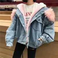 LEDINGSEN Womens Oversized Fleece Thick Rabbit Fur Denim Jacket winter coat women Hooded Jean Jackets 2018 female cotton jacket