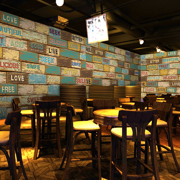 Buy custom photo wood brick wall mural for Mural coffee shop