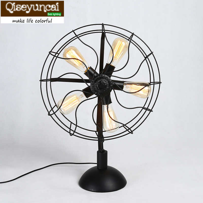 Loft retro Desk Lamps of creative industries in the American village Tieyi bedroom lamp fan financial performance of lanco industries limited in chittoor district