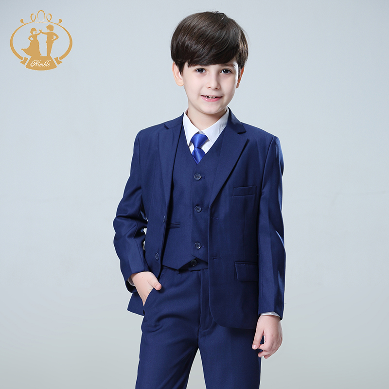 Nimble Blue boys suits for weddings kids Blazer Suit for boy costume enfant garcon maria ...