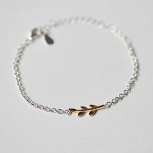 Темперамент Творческий корейский 925 пробы серебряные ювелирные изделия красивый женский простой свежий оливковый браслет SB23