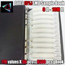 0402 5% 0R ~ 10M YAGEO SMD résistance échantillon livre tolérance 170valuesx50pcs = 8500 pièces Kit de résistance