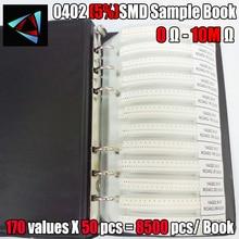 YAGEO Libro de muestra de resistencia SMD, 0402 5% 0R ~ 10M, tolerancia a 170valuesx50 Uds = 8500 Uds.