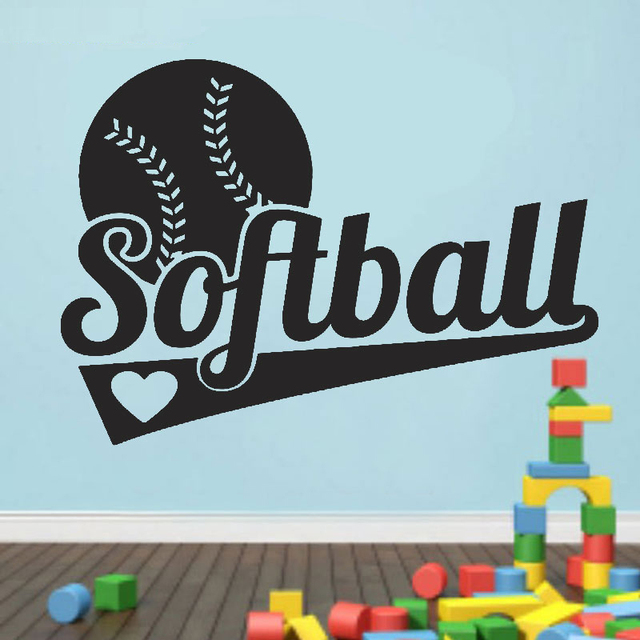 Diamond Level Brand Childrens Wall Stickers Softball Vinyl Kids