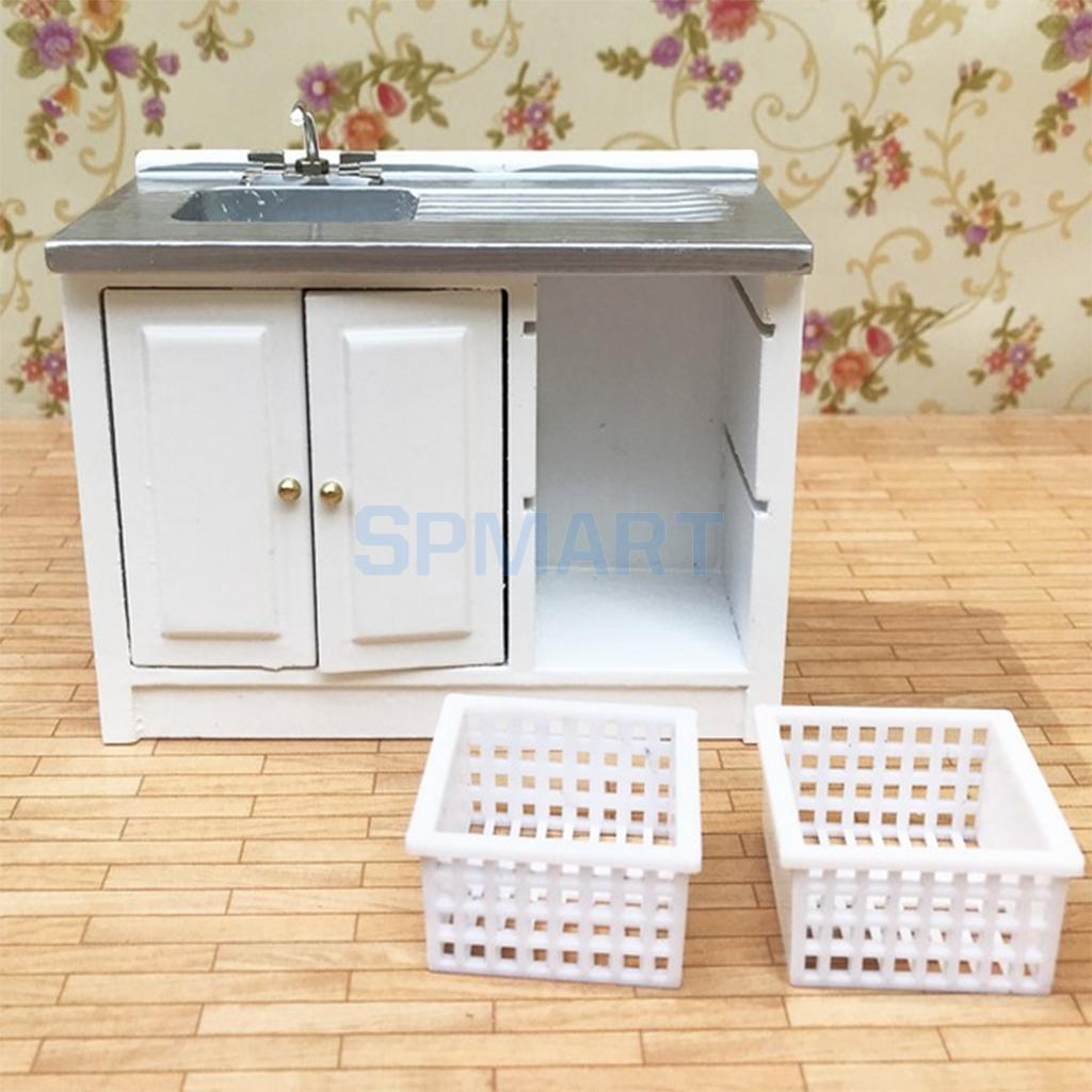 Miniature Wooden Washing Cabinet Furniture for 1/12 Dolls House Kitchen Accessories Decoration ...