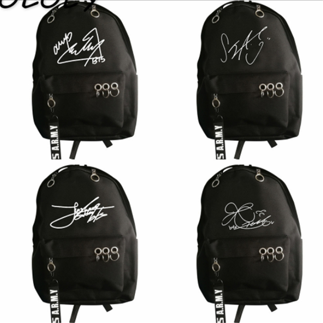BTS Signature Canvas Backpack Army Kpop Bangtan Boys Bag Teenager Student  School Book Bag Travel Portable cbbbf5149c231