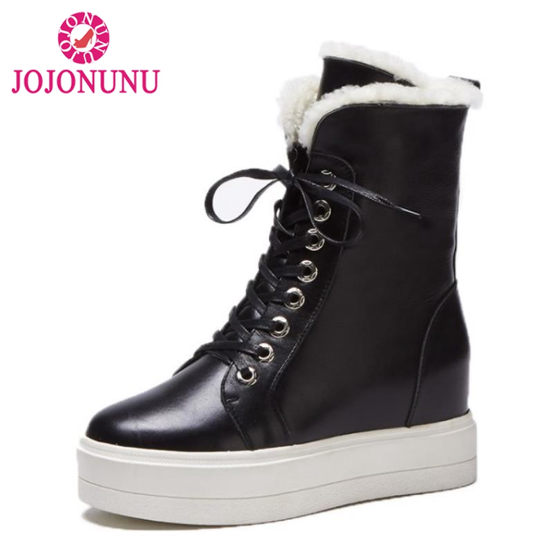 JOJONUNU Women Real Leather Thick Fur Snow Boots Women Thick Platform Lace Up Shoes Women Warm Plush Winter Botas Size 34-39 rizabina cold winter snow shoes women real leather warm fur inside ankle boots women thick platform warm winter botas size 34 39