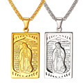 New Oratio Dominica Lord Prayer Jewelry Blessed Virgin Mary Necklace Yellow Golden Stainless Steel Cross Charms Women/Men GP2394