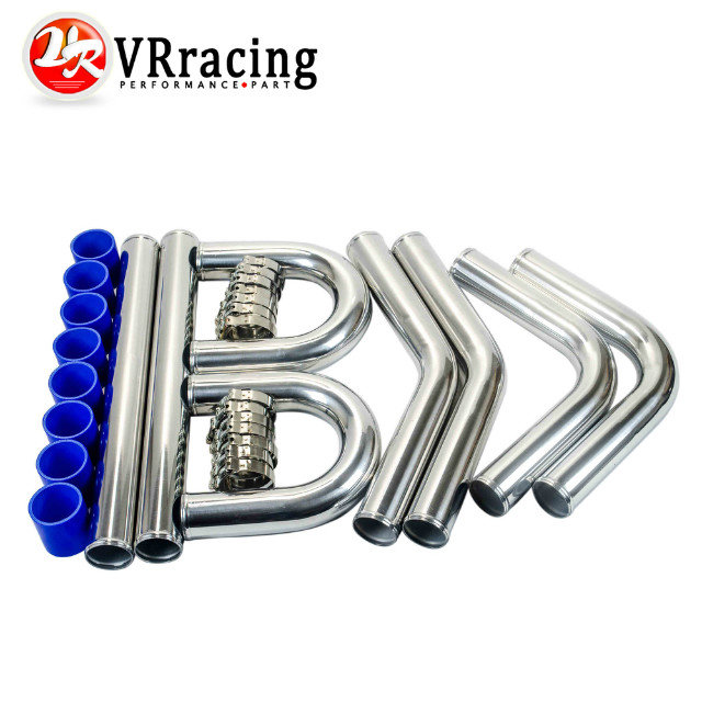 VR RACING - 2.5' '63mm TURBO INTERCOOLER PIPE 2.5 L=600MM CHROME ALUMINUM PIPING PIPE TUBE+T-CLAMPS+ SILICONE HOSES BLUE VR1718 epman universal 2 25 inch 57mm turbo intercooler aluminum pipe silicone hose kit black length 600mm for bmw e60 ep lgtj57 600
