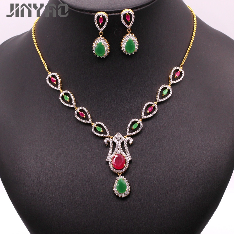 JINYAO Luxury Female Wedding Jewelry Set for Women Flowers Yellow&White Gold Color Red Green Zircon Necklace Earrings Party Set